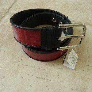 FENDI Men's Zucca 'FF' Pattern Belt (Red/Black)